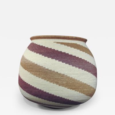 Wounaan Tribal Basket Bold Geometric Spiral Design Mauve Cream Yellow
