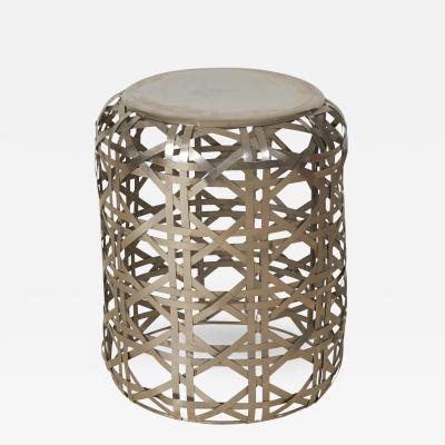 Woven Diamond Twill Pattern Stainless Steel Side Table