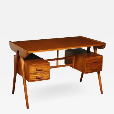 Writing Desk Stained Beech Mahogany Veneer Italy 1950s