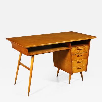 Writing Desk Veneered Wood Solid Fruitwood Brass Beech Argentina 1950s