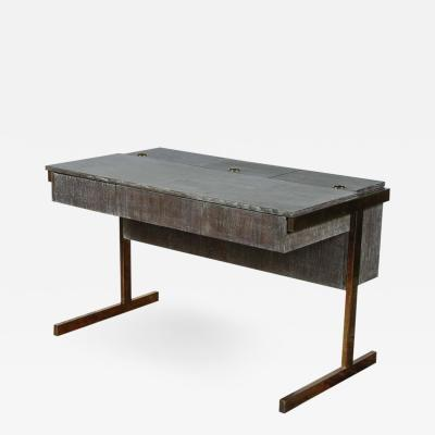 Writing File Desk in Ceruse Walnut and Aged Brass