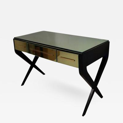 Writing Table in Brass and Glass Italy 1950