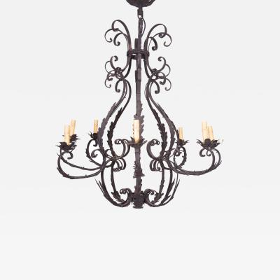Wrought Iron Cage Form Eight Light Chandelier