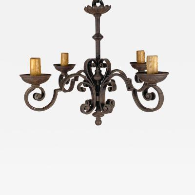 Wrought Iron Chandelier Spain Circa Early 20th Century
