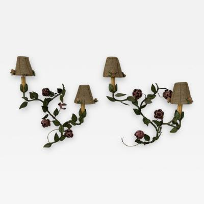 Wrought Iron Floral Wall Sconce with beaded shades a Pair