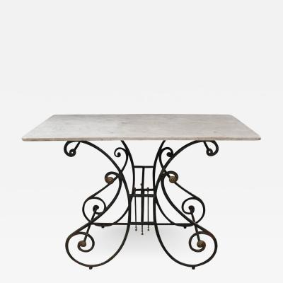 Wrought Iron Gilt Brass and Marble Top Bakers Pastry Table