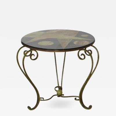 Wrought Iron Side Table with Black Marble Top with Geometric Inlays circa 1940s