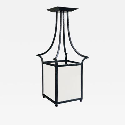 Wrought Iron Swedish Modern Classicism Lantern Fixture