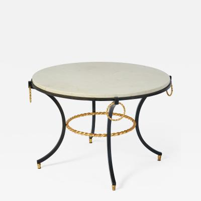 Wrought Iron Table with Gold Leaf Accents France 1950s