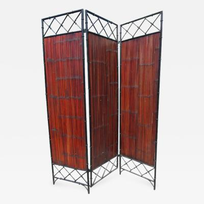 Wrought Iron and Bamboo Slat Three Panel Screen