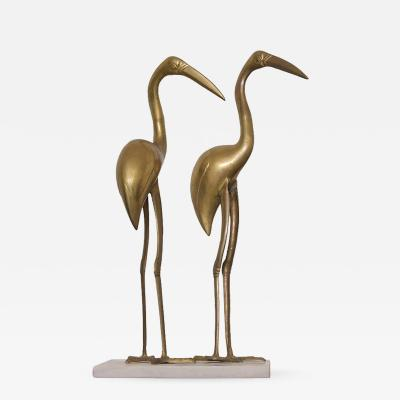 XL Large Pair of Hollywood Regency Brass Cranes on Marble Base