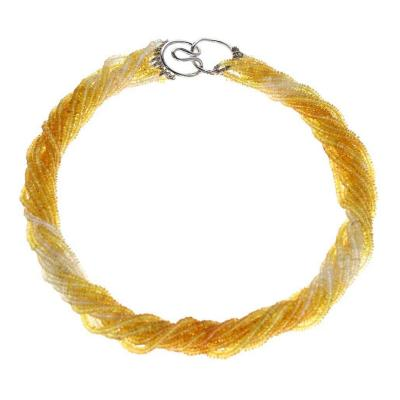 YELLOW AND WHITE SAPPHIRE BEAD WHITE GOLD NECKLACE