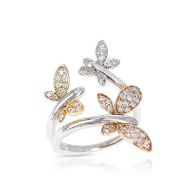 YELLOW WHITE AND ROSE 18 KARAT GOLD THREE BUTTERFLY RING WITH DIAMONDS