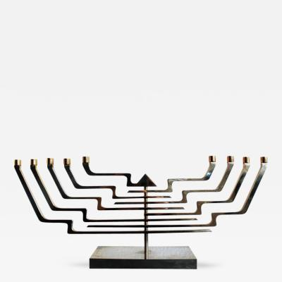 Yaacov Agam Mid Century Modern Agam 24KT Gold Brass Adjustable Menorah Sculpture Signed
