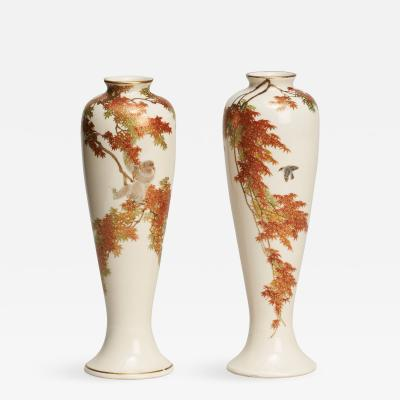 Yabu Meizan A PAIR OF MINIATURE JAPANESE SATSUMA VASES SIGNED BY YABU MEIZAN