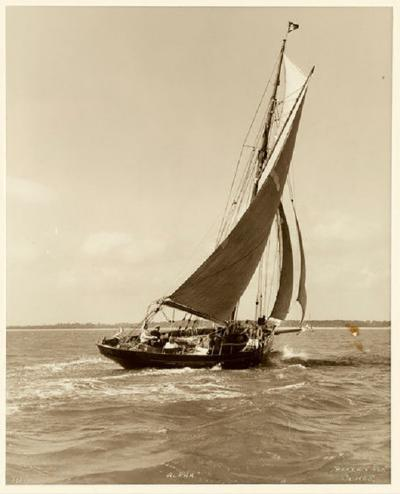 Yacht Alpha early silver photographic print by Beken of Cowes