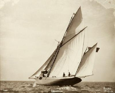 Yacht Leander early silver photographic print by Beken of Cowes