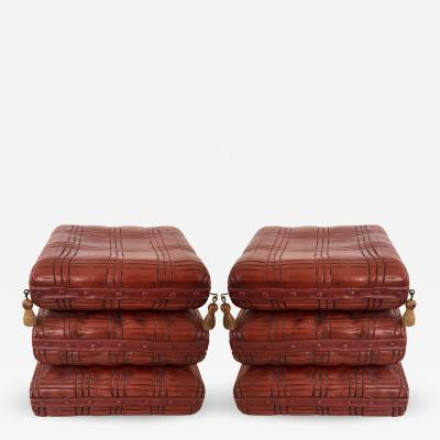 Yale Burge Pair of Vintage Carved Wood Pillow Pouf Stools c 1960 s