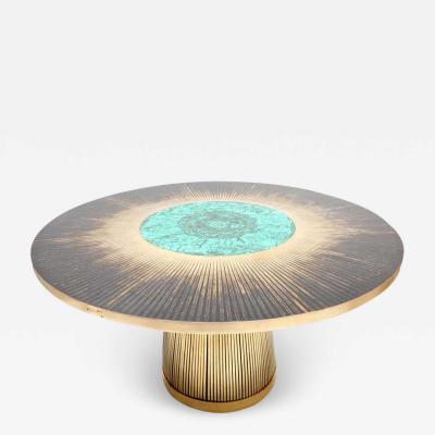 Yann Dessauvages Malachite Dining Table Sculpted by Yann Dessauvages