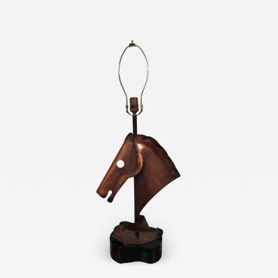 Yasha Heifetz Handsome Copper Heifetz Horse Head Lamp Midcentury Danish Modern