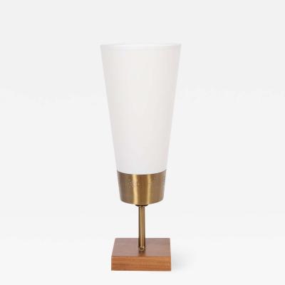 Yasha Heifetz Yasha Heifetz Pierced Brass and Mahogany Table Lamp with White Cone Shade 1940s