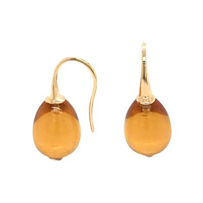 Yellow Gold 18 K Hydro Citrine Drop Earrings