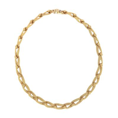 Yellow Gold 18k Braid Chain Antique Neacklace