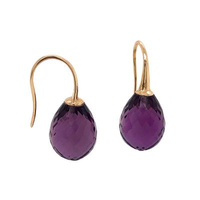 Yellow Gold 18k with Amethyste Drop Earrings