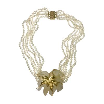 Yellow Gold and Crystal Pearl Necklace