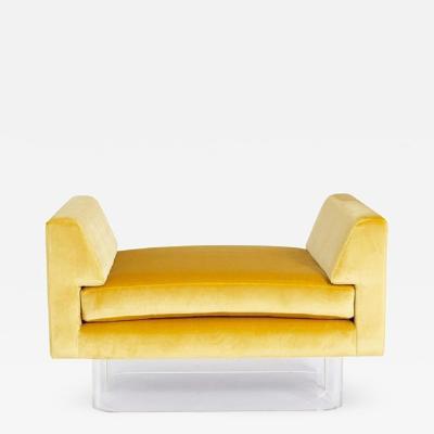 Yellow Silk Lucite Bench
