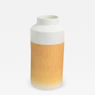 Yellow and White Porcelain Vase with Lid