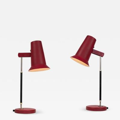 Yki Nummi Pair of 1950s Yki Nummi Red Table Lamps for Orno