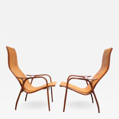 Yngve Ekstr m Pair of Swedish Teak and Leather Lamino Chairs by Yngve Ekstr m