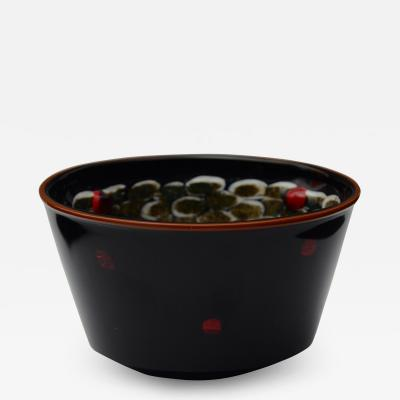 Yoichi Ohira Coppa nera con murrine e polvere Vase