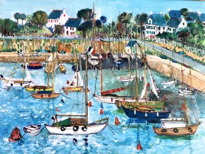 Yolande Ardissone Le Port De Carnac Bretagne The Port Of Carnac Brittany
