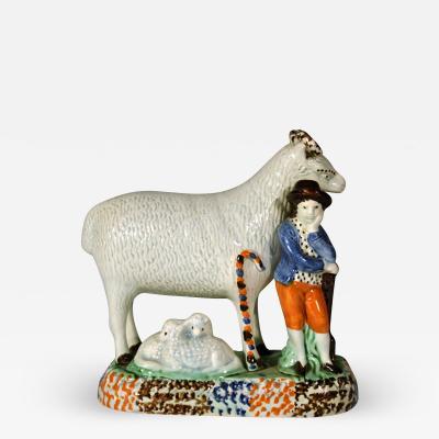 Yorkshire Prattware Pottery Pair of Sheep and Shepherd and Shepherdess