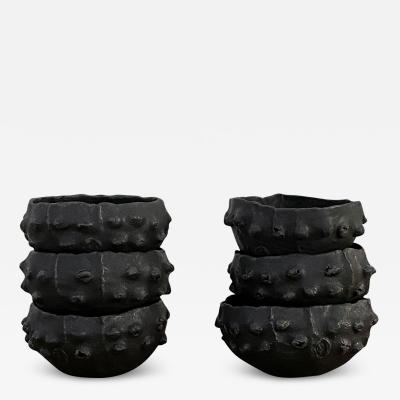 Young Mi Kim Small black glazed barnacle bowls by Young Mi Kim