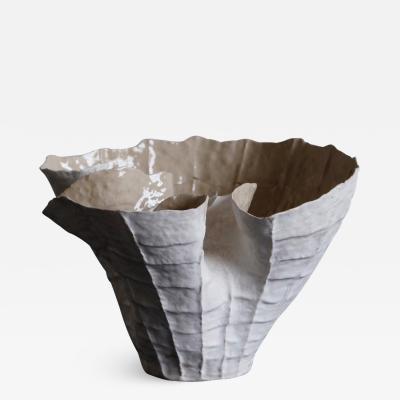 Young Mi Kim Undulating White Stoneware Vessel by Ceramicist Young Mi Kim
