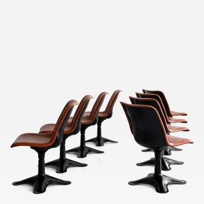 Yrjo Kukkapuro LEATHER DINING CHAIRS BY YRJO KUKKAPURO SET OF 8