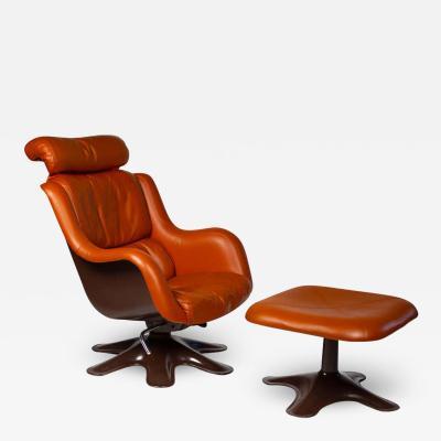 Yrjo Kukkapuro Yrjo Kukkapuro Karuselli Easy Chairs and Ottoman in Leather Model 418 for Haimi