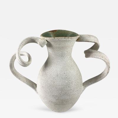 Yumiko Kuga White Crackle Glazed Vase by Yumiko Kuga