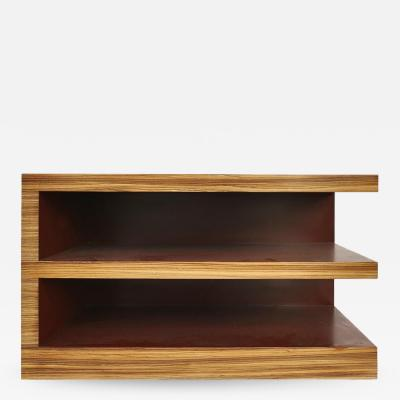Zebra Wood Tiered Low Bookcase Side or End Table