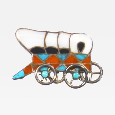 Zuni channel inlaid conestoga wagon pin