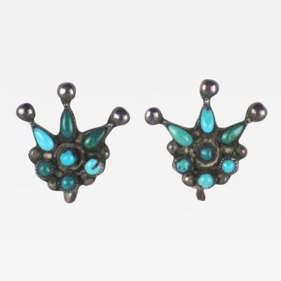 Zuni petit point earrings in style of a crown