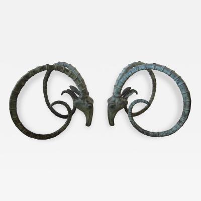 alain chervet Pair of Patinated Bronze Ibex Dining Table Bases by Alain Chervet