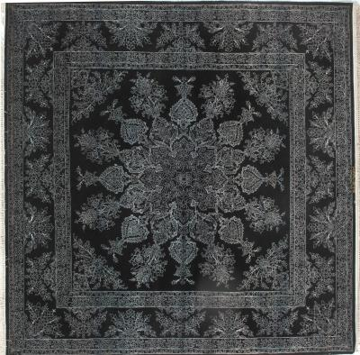ali zarei Unusual black Silk and Wool Persian Rug measuring 6 ft 7 in square