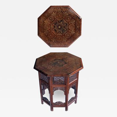 anglo indian octagonal side traveling table with brass and copper inlay