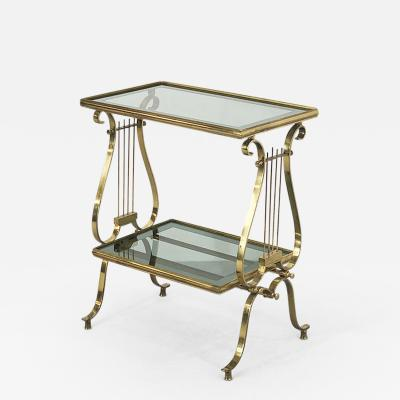 brass and glass table from the 50s shaped musical instrument