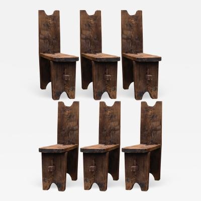 brutalist French raw pine set of 6 chairs
