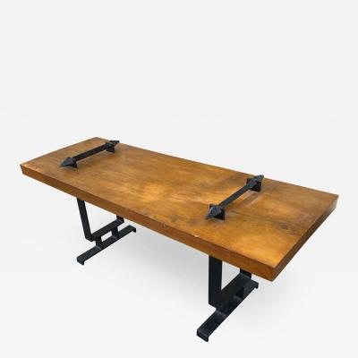 brutalist stunning coffee table with wrought iron accent